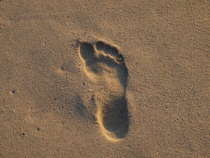 Footprint in the sand in Lanzarote